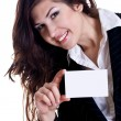 Young business woman with business card — Stock fotografie