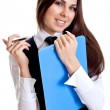 Business woman in a suit with clipboard — Stock Photo #1912789