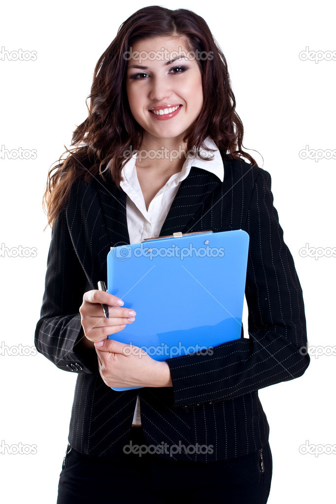 Young business woman with business card on a white background — Stock Photo #1912562