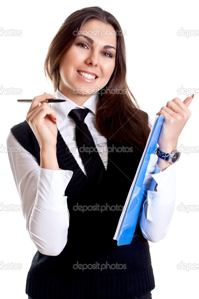 Business woman in a suit with clipboard on a white background — Stock Photo #1912758