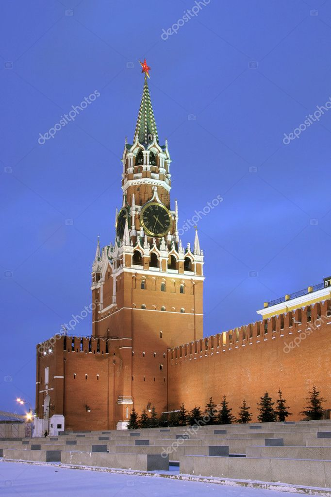 Spasskaya tower. Red Square. Moscow Russia  Stock Photo #1095534
