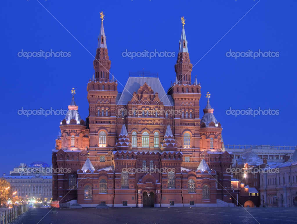 State Historic Museum at the Red square in Moscow at night (Russia)  Stock Photo #1514277