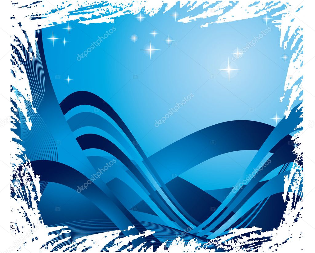 The vector illustration contains the image of blue ribbons and stars — Stock Vector #1101205