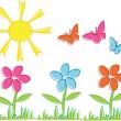 Spring flowers and butterflies — Stock Vector #1111310