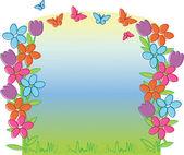 Spring Tulpen en vlinders — Stockvector