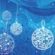 Christmas blue balls and stars — Stock Vector