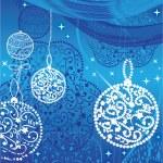 Christmas blue balls and stars — Stock Vector