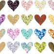 set voor valentines hearts — Stockvector