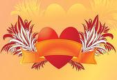 Heart with ribbon — Stock Vector