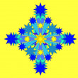 Blue snowflake on yellow background — Stock Vector