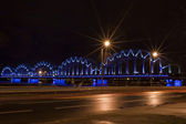 Riga rail bridge — Stock Photo