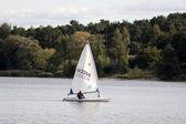Zeilboot op het bos-meer — Stockfoto