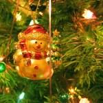 Snowball toy on Christmas tree — Stock Photo