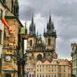 Tyn Cathedral at Prague, Czech republic — Stock Photo