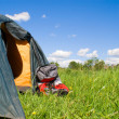 Tourist tent and backpack — Stock Photo