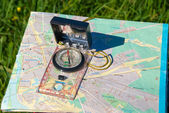 Compass and map — Stock fotografie