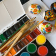 Stock Photo: Colours and brushes