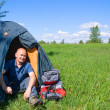 Man and tourist tent — Stock Photo