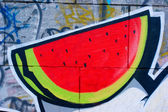 Getekende water-meloen — Stockfoto
