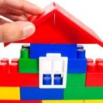 hand zetten blok van constructor — Stockfoto