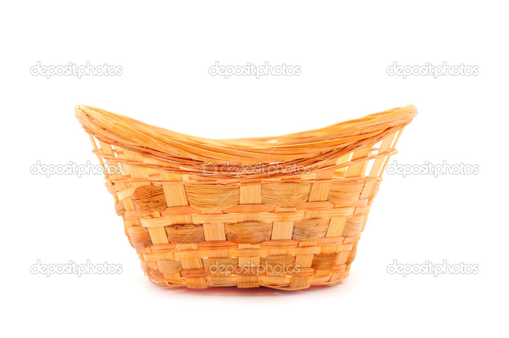 Empty wood basket, isolated on white background — Stock Photo #1263100