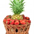 Royalty-Free Stock Photo: Basket of pineapple and strawberry