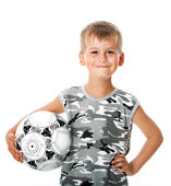Boy holding soccer ball — Foto Stock