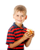 Boy holding an apple — Stock Photo