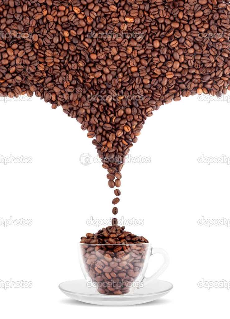 Cup of coffee with seed isolated on a white background  Stock Photo #1119962