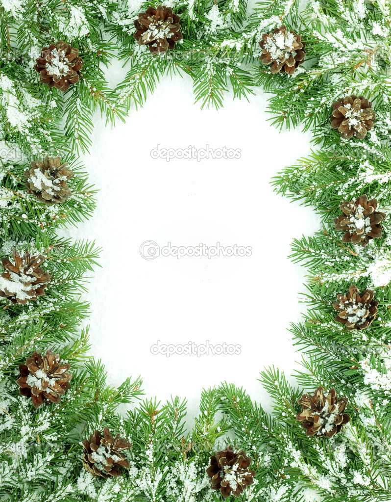 Christmas framework with snow isolated on white background — Stock Photo #1148415
