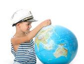 Boy holding a globe — Stock Photo