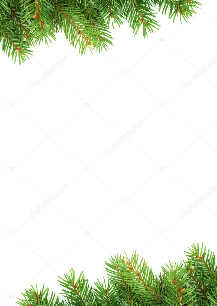 Christmas green framework isolated on white background — Stock Photo #1750866