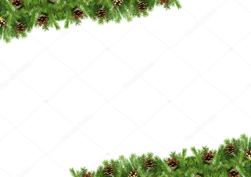 Christmas framework with snow isolated on white background — Stock Photo #1750926