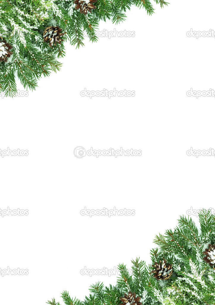 Christmas framework with snow isolated on white background  Stock Photo #1750941