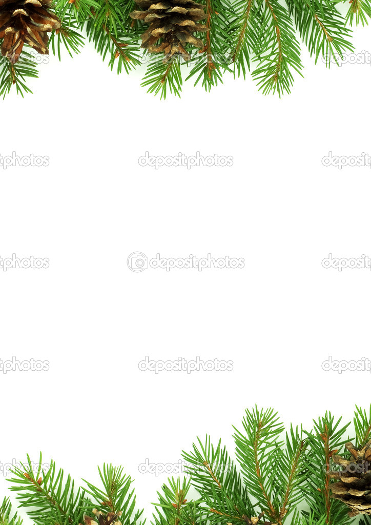 Christmas framework with snow isolated on white background  Stock Photo #1766159