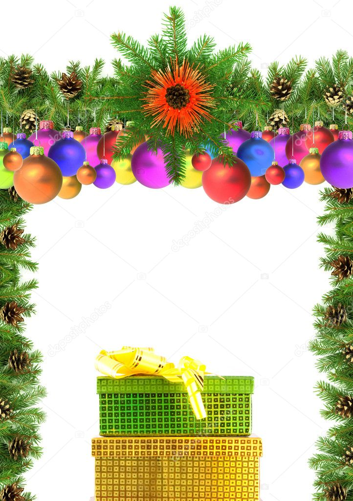 Christmas green  framework isolated on white background — Stock Photo #1767248