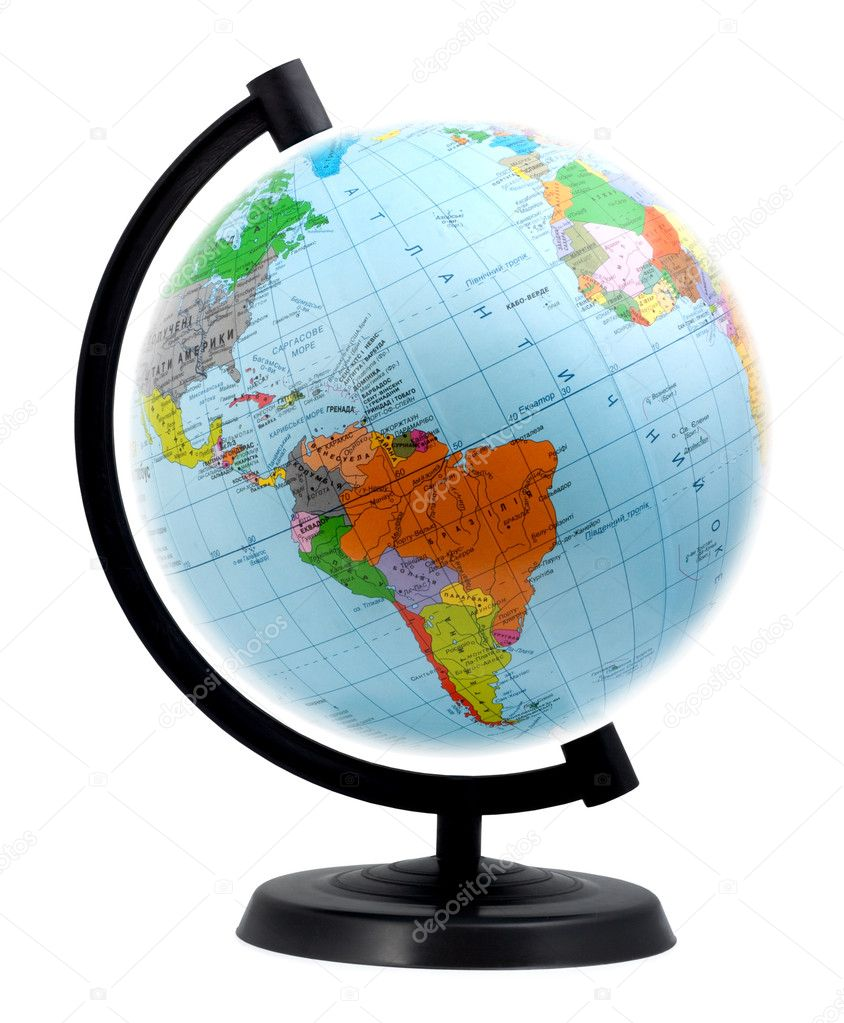 Terrestrial globe isolated on a white background  Stock Photo #1981579
