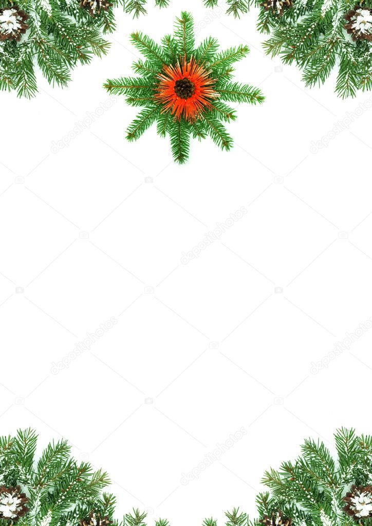 Christmas framework with snow isolated on white background — Stock Photo #2297267