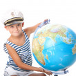 Boy holding a globe — Stock Photo