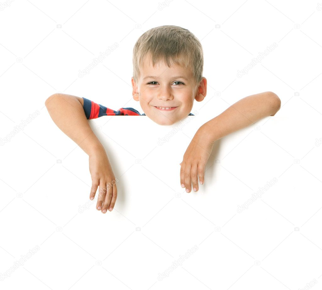 Boy holding a banner isolated on white background — Stock Photo #2317279