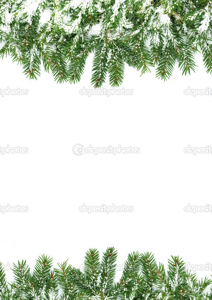 Christmas framework with snow isolated on white background — Stock Photo #2579938
