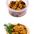 Mussels in a plastic box — Stock Photo #1318790