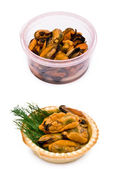Mussels in a plastic box — Stock Photo