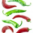 Stock Photo: Red and green chilli peppers.