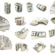 Stock Photo: Dollars set.