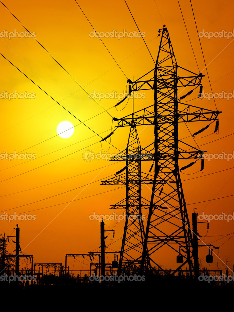 Energy towers on sunset background.  Stock Photo #1110050