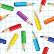 Royalty-Free Stock Imagem Vetorial: Color pencils seamless background.