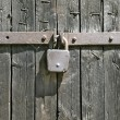 Padlock on fence. - Stock Photo