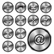 Stock Vector: WEB round metal icon button.