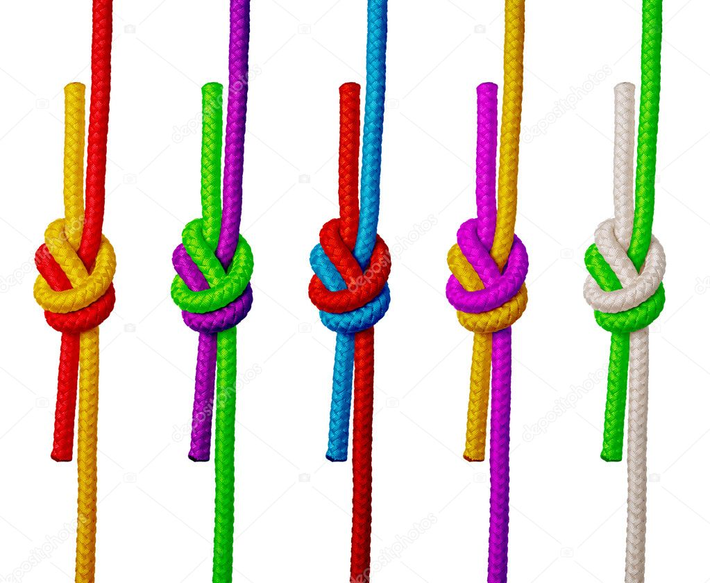 Varicolored ropes with knot on white background (isolated).  Stock Photo #1187830